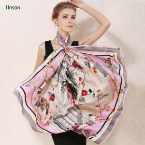 Satin elegant women custom logo oem digital custom printing square 100% silk scarf