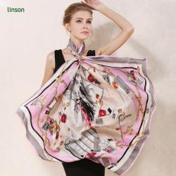 Satin elegant women custom logo oem digital custom printing square 100% silk scarf