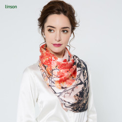 Beautiful and fashionable printing twill silk square scarves 120*120 for office ladies