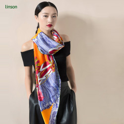 2017 news chinese manufacturer high-end customed printed oriange female 120*120 satin silk scarf