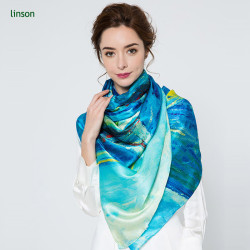 2017 news wholesale high-end customed printed ladies 120*120 square satin silk scarf