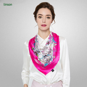 2017 spring factory high-end customized digital printing fuschia women square satin pure silk scarves
