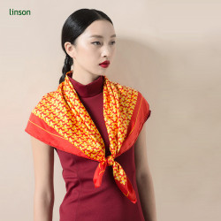 Spring high-end customed digital printing orange square satin women silk scarf