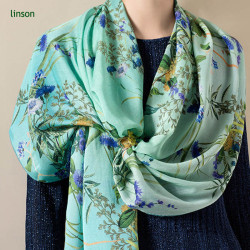 2017 Spring Fashion Tropical Plants Printing Chinese Supplier Customized Digital Printed Female Silk Scarf