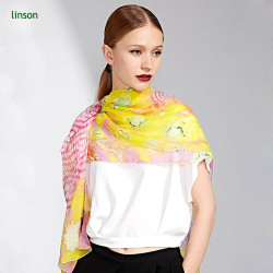 2017 Spring Fashion Chinese Supplier Oem Customized Pink And Yellow Digital Printed Female Silk Scarf