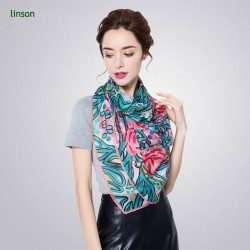Chinese factory high quality customized digital printed 100% silk female scarves
