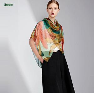 OEM 2017 summer custom logo digital printing kashmiri ladies chiffon silk scarf