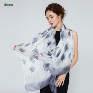 OEM 2017 summer custom logo white digital printing women pure silk scarf