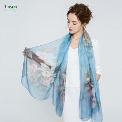 2017 Summer customer digital printing Women hijab silk scarf dubai