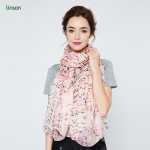 Chinese manufacturer floral pink digital printed 100% silk scarf custom