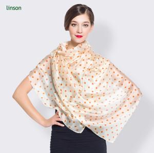 Wave Point 2017 Hot Fashion Custom Design Ladies Silk Chiffon Square Scarf