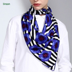 2017 news manufacturers high-end customed printed blue flowers120*120 square satin ladies silk scarf