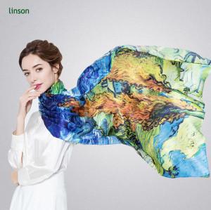 Chinese factory high-end custom design digital printing female long satin silk scarf