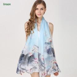Point 2017 Hot Fashion Custom Design Ladies Silk Chiffon Square Scarf