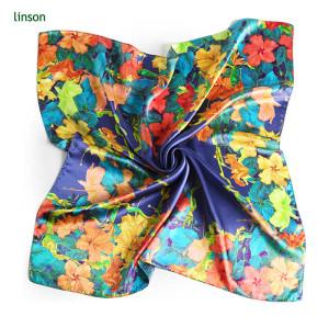 Fashion 60*60cm silk pocket print custom square satin scarf