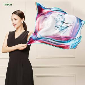 Beautiful silk print pocket square satin scarf