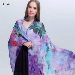 Chinese printing big size long chiffon silk scarf for dubai or leo