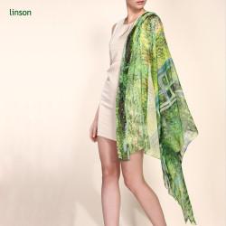 2017 New Fashion Custom Digital Printed 100% Silk Chiffon Scarf