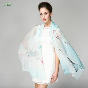 2017 Hot Fashion Silk Scarf Custom Design Silk Chiffon Scarf Shawl Ladies China