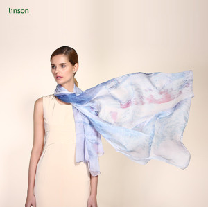 Blue Printed Lady Scarf, Silk Chiffon Scarf Factory China