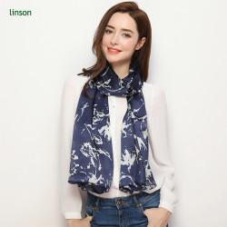 Beautiful black printing pattern custom design silk soft chiffon scarf