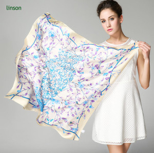 120x120 square custom printing chinese silk scarf