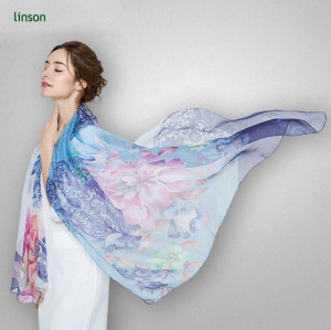 Digital Print Fashion Popular Style 2017 For Ladies Silk Scarf Shawl