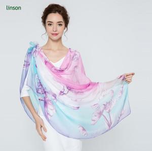2017 Hot Fashion Custom Design Silk Chiffon Scarf