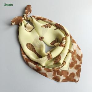 Small square digital printing custom design crepe silk scarf