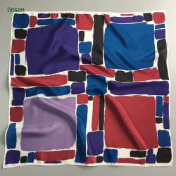 Tokyo style young women small square silk printing satin scarf