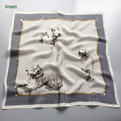 Digital printing small square customized satin white dogs silk scarf