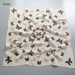 small square neck scarf with butterfly printing