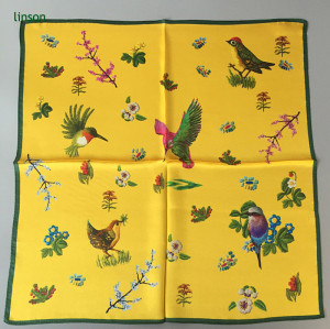 Chinese style yellow small square neck scarf with bird printing