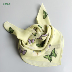 Cute square chiffon cdc scarf for little girls with butterfly printing