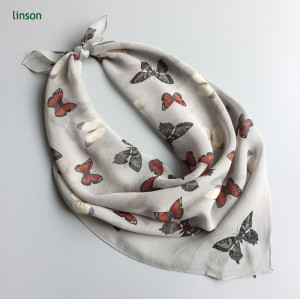 2017 spring chiffon cdc scarf with butterfly printing