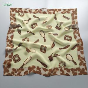 Children small square so cute silk printing chiffion scarf