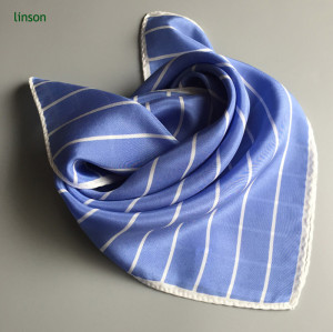 Stripe neckwear scarf with simple design sky blue color twill scarf