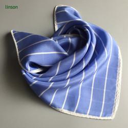 Stripe neckwear scarf with simple design sky blue color twill scarf