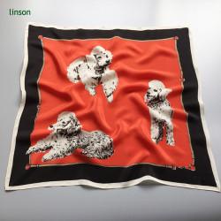 Japan style red digital printing custom design square scarf