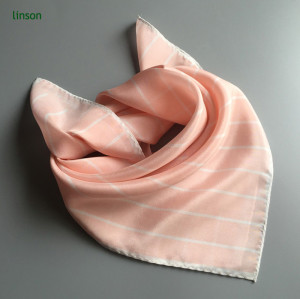 2017 new style new products on china market stripe pink small square satin scarf