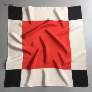 Japan style red printing square scarf on website