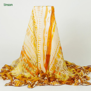 2017 New Women's Long Fashion Soft Chiffon Yellow Printed Silk Shawl Scarves