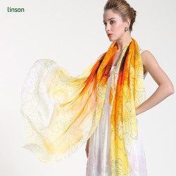 Women's Long Style Fashion Custom Soft Chiffon Silk Shawl Scarves