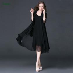 Black Silk chiffon fabric for women dress