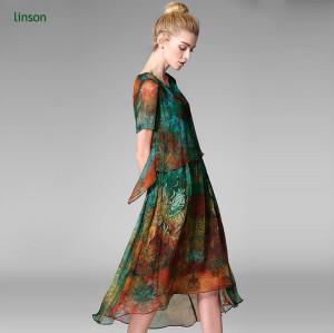 Colourful pattern digital printing silk chiffon fabric for women dress