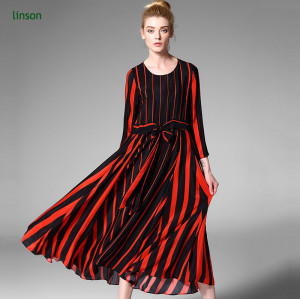 Red and black heavy silk fabric for women dress