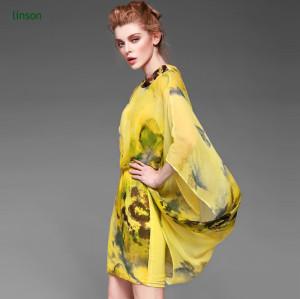 Yellow printed silk fabric for silk dress