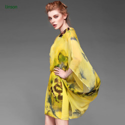 Yellow printed silk fabric for silk dress