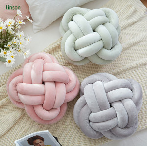 Europe Style OEM Service Handmade Knot Cushion Pink Color Knotted Pillow
