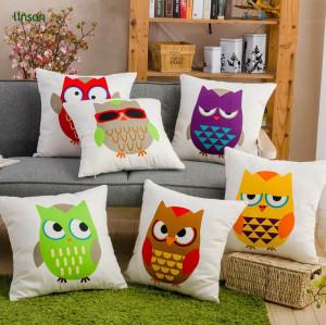 Custom Owl Design Digital Printed Cotton Linen Cushion Cover